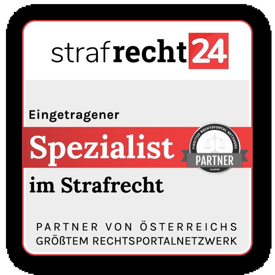 Rechtsanwältinnen Dr. Krsitina Venturini und Mag. Laura Weingartner in 1010 Wien und Hollabrunn-Siegel Rechtsportalnetzwerke-Strafrecht24 Siegel final